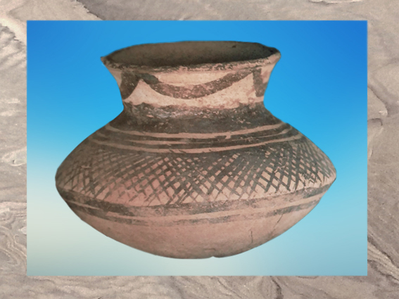 D'après une terre cuite peinte, Obeid, Ve millénaire avjc, Tello, Irak actuel, Mésopotamie néolithique. (Marsailly/Blogostelle)