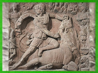 D'après Mithra, dieutauroctone, mithraeum de Neuenheim, Karlsruhe, IIe siècle apjc, Allemagne,époque romaine. (Marsailly/Blogostelle)