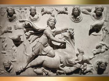 D'après un relief du Sacrifice de Mithra, vêtu à la Perse et coiffé du bonnet phrygien, marbre, mithraeum de Sidon, IVe siècle apjc, Phénicie, Liban, époque Romaine. (Marsailly/Blogostelle)