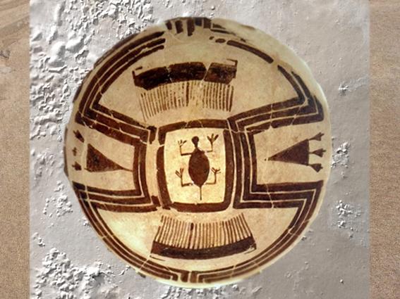 D'après une céramique à décor peint de tortue, IVe millénaire avjc, Suse, Iran actuel,période néolithique, Orient ancien. (Marsailly/Blogostelle)