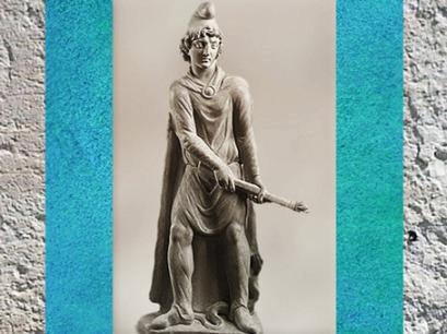 D'après Cautopatès, porteur de torche, mithraeum de Sidon, marbre, IVe siècle apjc, Phénicie, Liban, époque Romaine. (Marsailly/Blogostelle)
