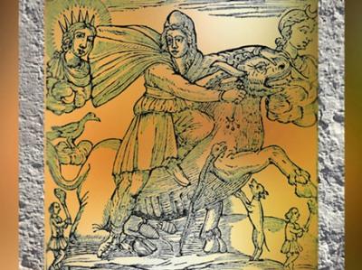 D'après l'iconographie mithriaque, gravure du mithraeum du Pausylipon, Naples,époque romaine. (Marsailly/Blogostelle)
