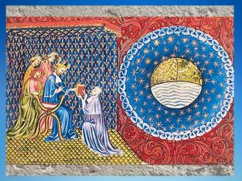 D'après Aristote, Du ciel et du Monde, Traité de la Sphère, manuscrit, Nicolaus Oresmius, vers 1410 apjc. (Marsailly/Blogostelle)