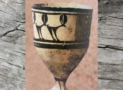 D'après une céramique peinte Tepe Sialk, vers 3500 ans avjc, Suse, Iran actuel,période néolithique, Orient ancien. (Marsailly/Blogostelle)