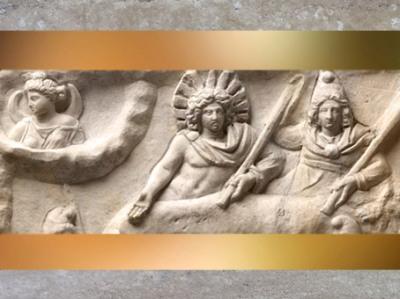 D'après La Lune, Sol et Mithra, détail,mithraeum de Sidon,marbre, IIe-IIIe siècle apjc, Phénicie, Liban, époque Romaine. (Marsailly/Blogostelle)