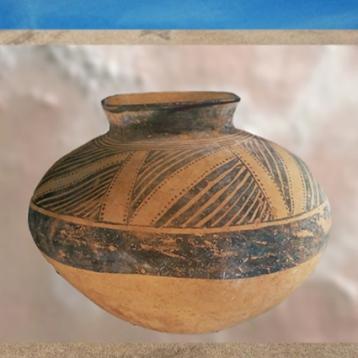 D'après une céramique peinte, décor géométrique, période d'Obeid, Ve millénaire avjc, Tello, Irak actuel, Mésopotamie néolithique. (Marsailly/Blogostelle)