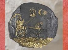D'après Cybèle, plaque d'argent doré, IIIe siècle avjc, sanctuaire Aï Khanoum, Afghanistan. (Marsailly/Blogostelle)