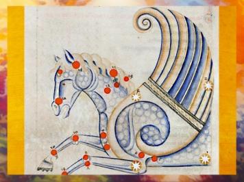 D'après le traité d'astronomie dit Sufi Latinus, de Abd al-Rahmān al-Ṣūfī, Pégasus, manuscrit vers 1250-1275 apjc, Bologne, XIIIe siècle apjc. (Marsailly/Blogostelle)