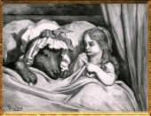 D'après Le Petit Chaperon Rouge, de Charles Perrault illustration de Gustave Doré (1832- 1883 apjc), XIXe siècle. (Marsailly/Blogostelle)