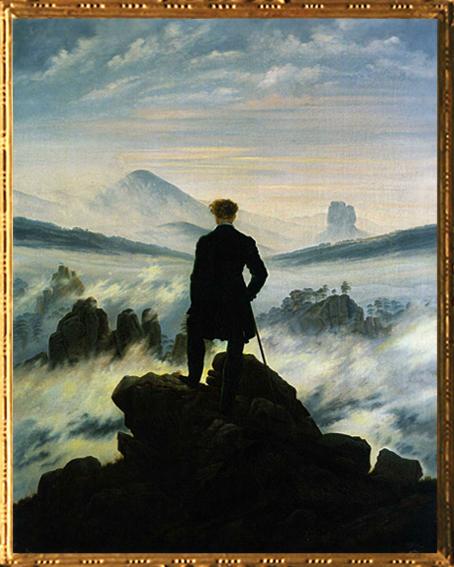 D'après Le Voyageur Contemplant une Mer de Nuages, Caspar David Friedrich, 1817-1818, XIXe siècle.(Marsailly/Blogostelle)