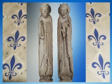 D'après des statues-colonnes, un roi et une reine, dits aussi Salomon et la reine de Saba, vers 1180 apjc, début de l'art Gothique, France. (Marsailly/Blogostelle)