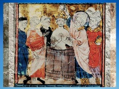 D'après le Baptême de Clovis, Grandes Chroniques de France, 1350 apjc, enluminure médiévale. (Marsailly/Blogostelle)