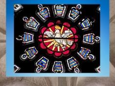 D'après la Colombe de la cathédrale de Bourges, vitrail, XIIe-XIIIe siècle, Art Gothique. (Marsailly/Blogostelle)