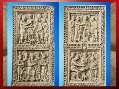 D'après le psautier de Dagulf, (recueil de psaumes), école du palais de Charlemagne, entre 783 et 795 apjc, David rédige et chante les psaumes, saint Jérôme les corrige, art Carolingien. (Marsailly/Blogostelle)