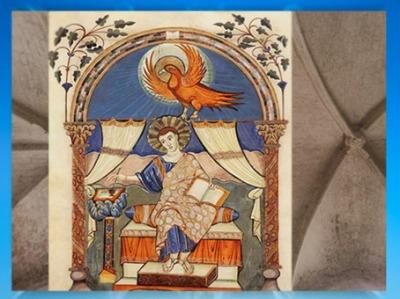 D'après l'évangéliaire de Lorsch (Codex Aureus Laurensius), saint Jean, vers 778-820 apjc, art Carolingien. (Marsailly/Blogostelle)