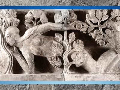 D'après La Tentation d'Ève, signée Gislebertus, cathédrale d'Autun (à l'origine), 1120-1130 apjc, art Roman, Bourgogne, France. (Marsailly/Blogostelle)