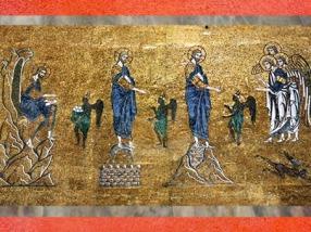 D'après les mosaïques de la cathédrale Saint Marc, Christ, Anges et Démons, XIIe apjc, période médiévale, Venise. (Marsailly/Blogostelle)