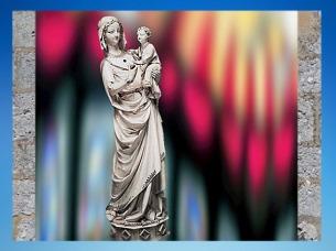 D'après La Vierge à l'Enfant de la Sainte-Chapelle, ivoire, traces de couleurs, 1250-1260 apjc Paris, art Gothique. (Marsailly/Blogostelle)