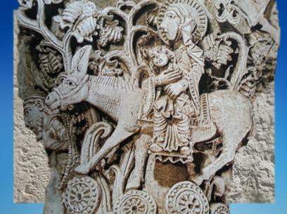 D'après La fuite en égypte, chapiteau, Saulieu, XIIe siècle, art Roman, Bourgogne, France. (Marsailly/Blogostelle)
