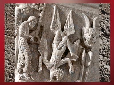 D'après La chute de Simon le Mage, détail sculpté de la cathédrale d'Autun, XIIe siècle apjc, art Roman, France. (Marsailly/Blogostelle)