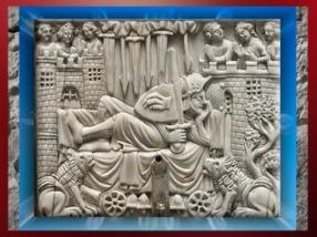 D'après Gauvain sur le Lit des Merveilles, ivoire, XIVe siècle apjc, art Courtois médiéval. (Marsailly/Blogostelle)