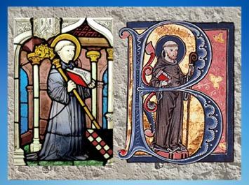 D'après Bernard de Clairvaux, vitrail, vers 1450 apjc, et un détail du manuscrit de La Légende Dorée, vers 1267-1276 apjc, art Gothique. (Marsailly/Blogostelle)