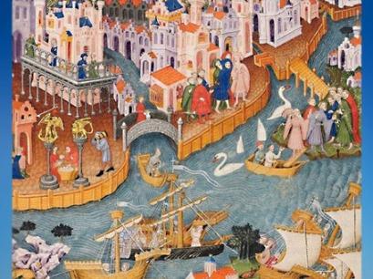 D'après un manuscrit enluminé, Marco Polo quitte Venise pour la Chine en 1271,XVe siècle. (Marsailly/Blogostelle)