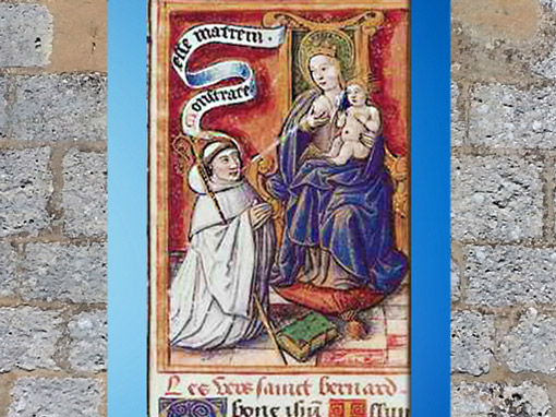 D'après Bernard de Clairvaux, le saint reçoit le le Lait de la Vierge, scène légendaire, XIIe siècle apjc. (Marsailly/Blogostelle)