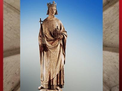 D'après Charles V, entre 1365 et 1380 apjc (mains, sceptre et église XIXe siècle), courant plus réaliste du XIVe siècle. (Marsailly/Blogostelle)
