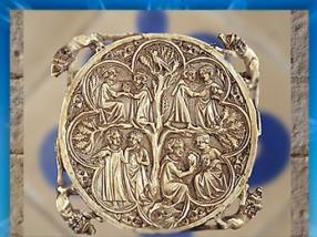 D'après le thème de l'Amour Courtois, valve de miroir, XIIe siècle apjc, ivoire, Art Gothique, France. (Marsailly/Blogostelle