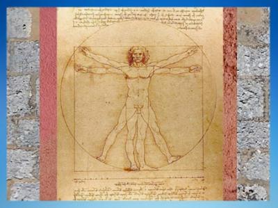 D'après l'Étude des proportions du corps humain selon Vitruve, par Léonard de Vinci, vers 1492, XVe siècle apjc, Venise, Italie. (Marsailly/Blogostelle)