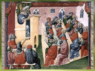 D'après l'Université médiévale, signée Laurentius de Voltolina, vers 1350 apjc, miniature, école de Bologne. (Marsailly/Blogostelle)