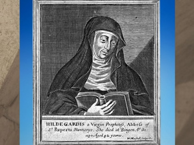 D'après un portrait de Hildegarde de Bingen, abbesse et mystique allemande du XIIe siècle apjc. (Marsailly/Blogostelle)