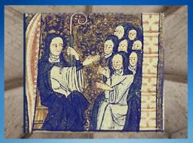 D'après Sainte Hildegarde, qui bénit ses nonnes, manuscrit, XIIIe siècle apjc. (Marsailly/Blogostelle)