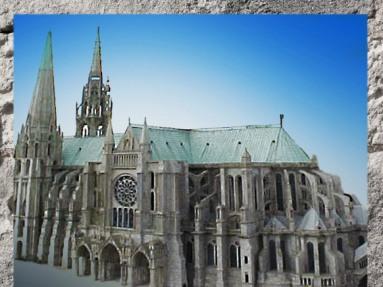 D'après Notre-Dame de Chartres et ses arcs-boutants, 1145 apjc, puis 1194-1220 apjc, art Gothique. (Marsailly/Blogostelle)