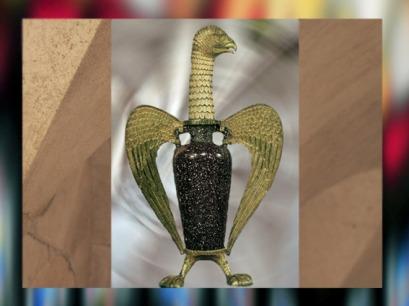 D'après l'Aigle dit de Suger, porphyre antique sur monture médiévale, argent doré et niellé, avant 1147 apjc. (Marsailly/Blogostelle)
