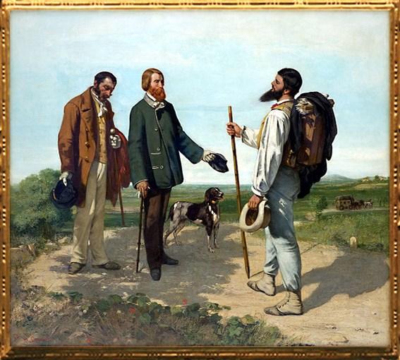 D'après La Rencontre (ou Bonjour Monsieur Courbet), Gustave Courbet, 1854, XIXe siècle. (Marsailly/Blogostelle)