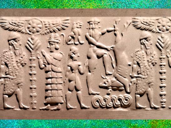 D'après le sceau dit de Gilgamesh et Taureau, XVIIe siècle avjc, Mésopotamie, Syrie. (Marsailly/Blogostelle)