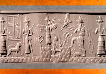 D'après une scène mythologique : un dieu guerrier-chasseur armé de son arc, la Grande Déesse aux Épis, le Soleil-Shamash qui émerge de la Montagne, Ea, dieu de l'Abîme et des Eaux... sceau du scribe Adda, 2300 avjc, époque d'Agadé, Mésopotamie, Irak. (Marsailly/Blogostelle)