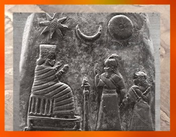 D'après Ishtar-Inanna, Sîn et Shamash sous la forme de leurs symbole, Kudurru de Meli-Shipak II, vers 1186–1172 avjc, dynastie Kassite, le roi de Babylone présente sa fille à la grande déesse,Babylone, butin de Suse. (Marsailly/Blogostelle)