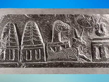 D'après la trilogie suprême mésopotamienne, Anu, En-lil, Ea, et la déesse Ninhursag, Kudurru du roi de Babylone Meli-Shipak II, vers 1186–1172 avjc, dynastie Kassite, butin de Suse. (Marsailly/Blogostelle)