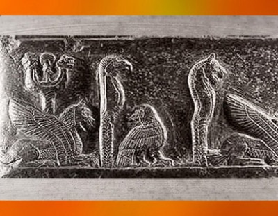 D'après les Dieux Guerriers, Nergal, Zababa et Ninurta, Kudurru du roi de Babylone Meli-Shipak II, vers 1186–1172 avjc, dynastie Kassite, butin de Suse. (Marsailly/Blogostelle)