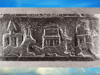 D'après Marduk, Nabû et la déesse Gula, Kudurru du roi de Babylone Meli-Shipak II, vers 1186–1172 avjc, dynastie Kassite, Babylone, butin de Suse. (Marsailly/Blogostelle)