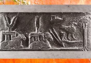 D'après les dieux de l'Orage, du Feu, de l'Agriculture et des Déités-Oiseaux kassites, Kudurru du roi de Babylone Meli-Shipak II, 1186–1172 avjc, butin de Suse. (Marsailly/Blogostelle)