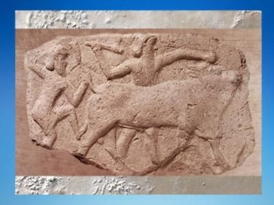D'après le Taureau Céleste tué par Gilgamesh et Enkidu, IIe millénaire avjc, Mésopotamie. (Marsailly/Blogostelle)
