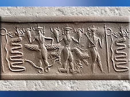 D'après un dieu serpent et déités hybrides serpents et scorpions, vers 2350-2150 avjc, époque néo-sumérienne, Mésopotamie. (Marsailly/Blogostelle)