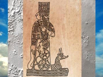 D'après un sceau-cylindre babylonien, Marduk ou son fils Nabû et leur emblématique dragon-serpent cornu, Mésopotamie. (Marsailly/Blogostelle)