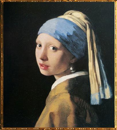 D'après La Jeune Fille à la Perle, Johannes Vermeer, 1665-1666 apjc, IVMeer, Pays-Bas, XVIIe siècle. (Marsailly/Blogostelle)