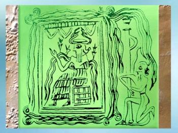 D'après le dieu Enki-Ea sur son trône, dans son palais ou temple carré, détail, sceau, Ur, vers 2300 avjc, période d'Agadé, Mésopotamie. (Marsailly/Blogostelle) D'après le dieu Enki-Ea sur son trône, dans son palais ou temple carré, détail, sceau, Ur, vers 2300 avjc, période d'Agadé, Mésopotamie. (Marsailly/Blogostelle)