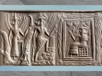 D'après Ea, dieu des Flots trônant, et visite du dieu Soleil, Shamash, un jeune et un dieu-Guerrier (Ninurta), cylindre d'Ur, vers 2300 avjc, période d'Agadé, Mésopotamie. (Marsailly/Blogostelle)